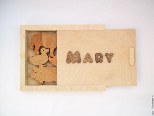 Развивающие игрушки ручной работы. Ярмарка Мастеров - ручная работа. Купить Набор домашних животных из дерева в именной коробке. Handmade.