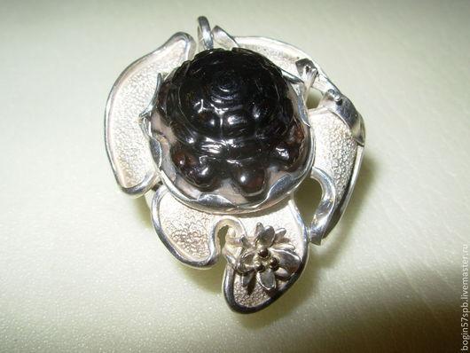"""Кольца ручной работы. Ярмарка Мастеров - ручная работа. Купить Кольцо """"Черепаха"""" с раухтопазом. Handmade. Коричневый, серебро 925 пробы"""