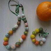 Бусы и браслет Апельсинка