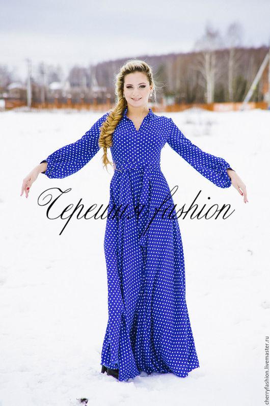 """Платья ручной работы. Ярмарка Мастеров - ручная работа. Купить Платье """"Глория"""" в горошек. Handmade. Синий, платье рубашка"""