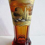 handmade. Livemaster - original item BOHEMIAN GLASS VASE HAND PAINTED 2 piece excellent condition. Handmade.