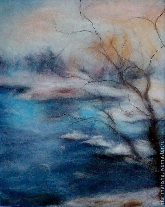 """Пейзаж ручной работы. Ярмарка Мастеров - ручная работа. Купить Картина из шерсти """"Голубая Вода"""". Handmade. Голубой, картины из шерсти"""
