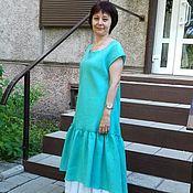 Одежда handmade. Livemaster - original item Dress set linen mint with podobnikar, in the style boho. Handmade.