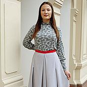 Одежда ручной работы. Ярмарка Мастеров - ручная работа Двухцветная юбка - серый, красный. Handmade.