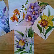 """Открытки ручной работы. Ярмарка Мастеров - ручная работа набор почтовых открыток """" Орхидеи """". Handmade."""