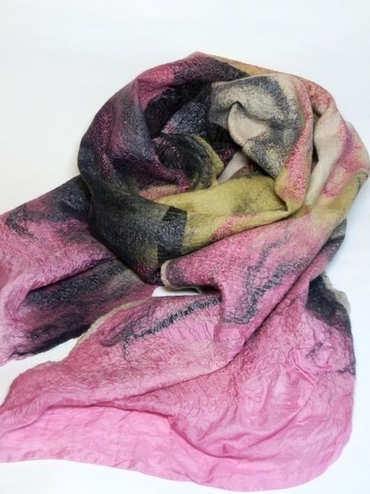 Шарфы и шарфики ручной работы. Ярмарка Мастеров - ручная работа. Купить шарф валяный розово-желто-черный. Handmade. Абстрактный
