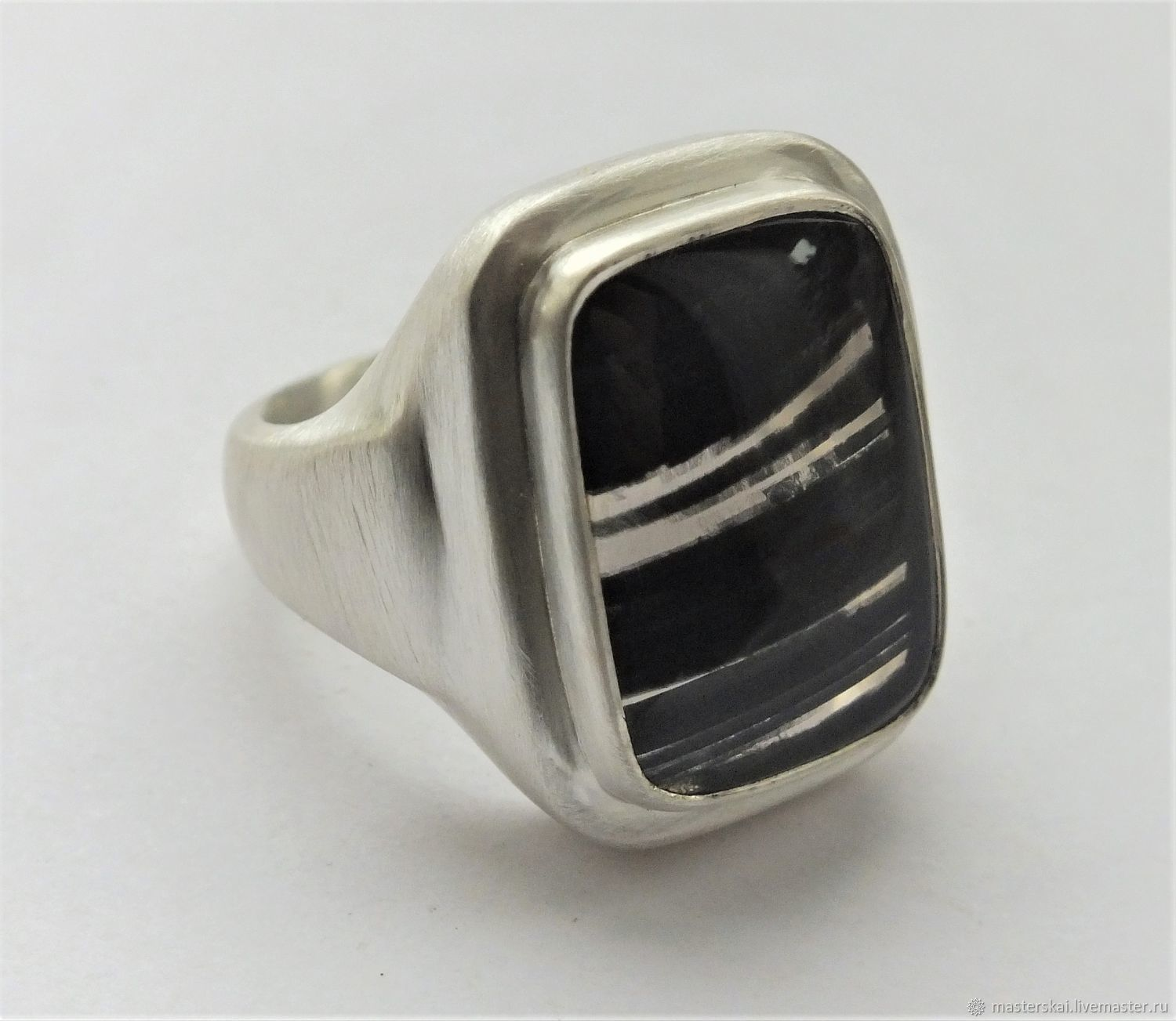 Ring-signet: ' Dragon glass ' - obsidian, silver, Signet Ring, Moscow,  Фото №1
