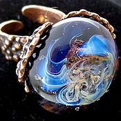 Украшения handmade. Livemaster - original item Ring lampwork beads moonlit night. Handmade.