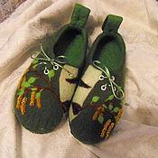 """Обувь ручной работы. Ярмарка Мастеров - ручная работа Тапочки войлочные """"Березовые сережки"""". Handmade."""