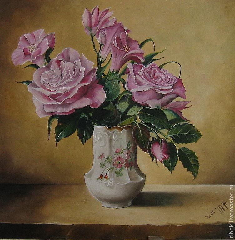 Картины цветов ручной работы. Ярмарка Мастеров - ручная работа. Купить Картина маслом. Розы на золотом. Handmade. Живопись, ваза