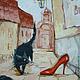 Фантазийные сюжеты ручной работы. Ярмарка Мастеров - ручная работа. Купить Бульварный роман. Handmade. Гламур, котик, городской пейзаж
