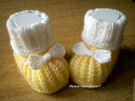 """Для новорожденных, ручной работы. Ярмарка Мастеров - ручная работа. Купить Пинетки """"С бантиками"""". Handmade. Желтый, для девочек, голубой"""
