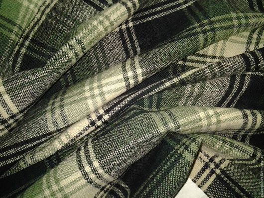 """Шитье ручной работы. Ярмарка Мастеров - ручная работа. Купить Шерсть костюмная в клетку """"Оттенки зеленого"""". Handmade. Зеленый"""