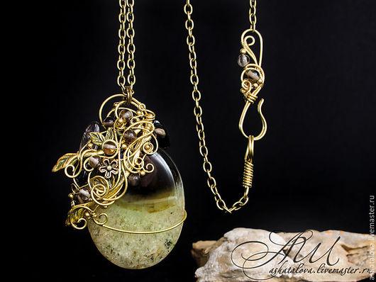 """Кулоны, подвески ручной работы. Ярмарка Мастеров - ручная работа. Купить Кулон """"Холодное лето"""" (агат, раухтопаз) wire wrap. Handmade."""