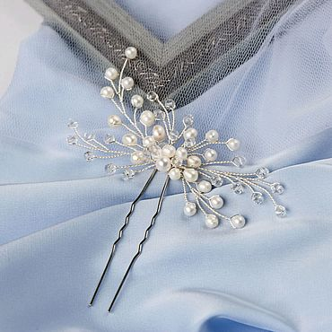 Свадебный салон ручной работы. Ярмарка Мастеров - ручная работа Свадебное украшение для волос / Шпилька веточка / Жемчуг / для невесты. Handmade.