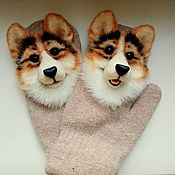 Аксессуары handmade. Livemaster - original item Mittens with a corgi dog. Handmade.