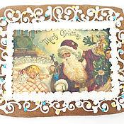 Сувениры и подарки ручной работы. Ярмарка Мастеров - ручная работа Открытка с дедом морозом. Handmade.