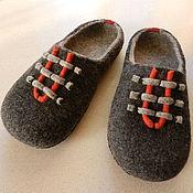 """Обувь ручной работы. Ярмарка Мастеров - ручная работа Тапки валяные домашние """"Серый+оранжевый"""". Handmade."""