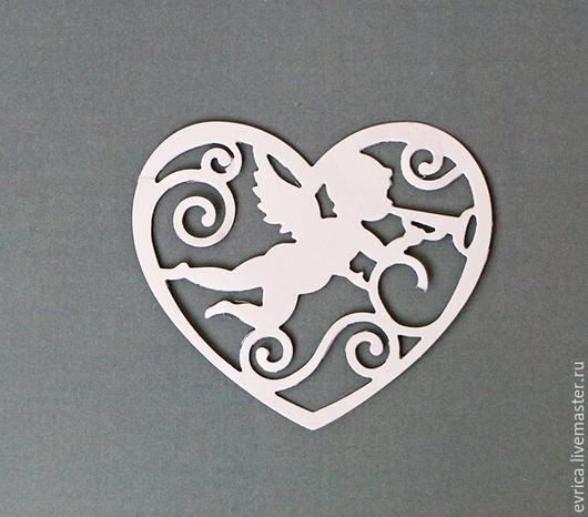 """Открытки и скрапбукинг ручной работы. Ярмарка Мастеров - ручная работа. Купить """"Ангел и сердечко""""  набор вырубка. Handmade. Разноцветный, ангелочек"""