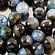 Бусины из натурального камня агата синего с черным цвета с кварцем кракле формы граненый шар диаметром 16 мм