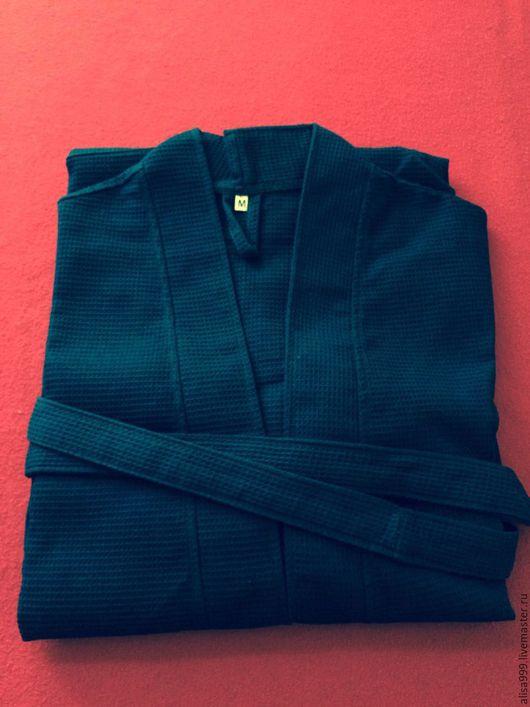 Халаты ручной работы. Ярмарка Мастеров - ручная работа. Купить Вафельные халаты синие.Хлопок 100%. Handmade. Тёмно-синий