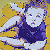 Картины и панно handmade. Livemaster - original item Portrait of a child in order on the photo in the style of pop art, colorful, modern. Handmade.