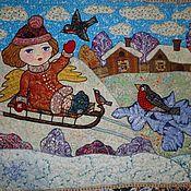 """Картины и панно ручной работы. Ярмарка Мастеров - ручная работа Панно """"Зимний ангел"""". Handmade."""