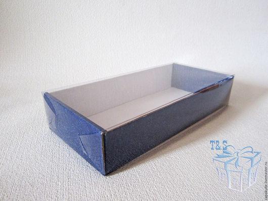 Упаковка ручной работы. Ярмарка Мастеров - ручная работа. Купить Коробка, 240х110х45 мм, с прозрачной крышкой, мгк, Синий узор, крафт. Handmade.