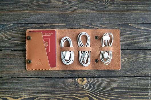 Органайзеры для сумок ручной работы. Ярмарка Мастеров - ручная работа. Купить Органайзер для проводов и паспорта. Handmade. Коричневый, кожаный органайзер