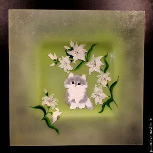 """Животные ручной работы. Ярмарка Мастеров - ручная работа. Купить Картина """" Котенок и лилии"""" .. Handmade. Комбинированный, стекло, картина"""