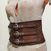 Аксессуары ручной работы. Ярмарка Мастеров - ручная работа Корсетный затемненный кожаный пояс. Handmade.