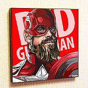 Картины и панно handmade. Livemaster - original item Painting Poster Red Guardian Black Widow in Pop Art Style. Handmade.