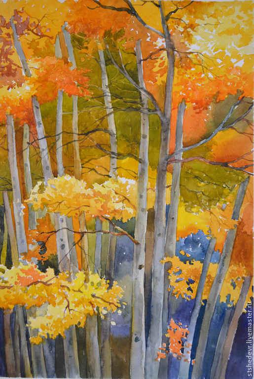 """Пейзаж ручной работы. Ярмарка Мастеров - ручная работа. Купить Акварельная картина """"Тишина"""". Handmade. Оранжевый, акварель, пейзаж, деревья"""