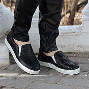 Обувь ручной работы handmade. Livemaster - original item Slip-ons Python skin black. Handmade.