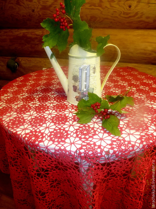 """Текстиль, ковры ручной работы. Ярмарка Мастеров - ручная работа. Купить Скатерть """"Калина красная"""" (прямоугольная) большая. Handmade. скатерть"""