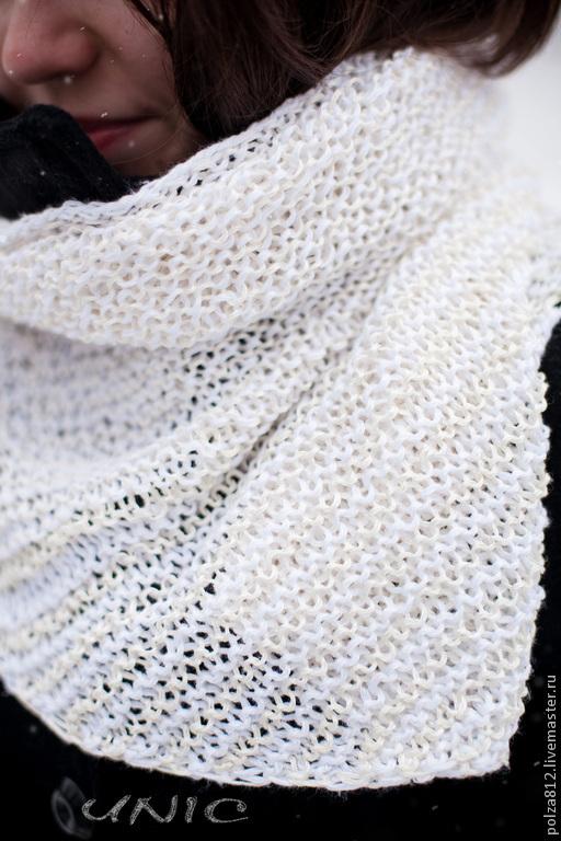 """Шарфы и шарфики ручной работы. Ярмарка Мастеров - ручная работа. Купить Шарф-бактус """"Эстель"""". Handmade. Белый, шарф"""