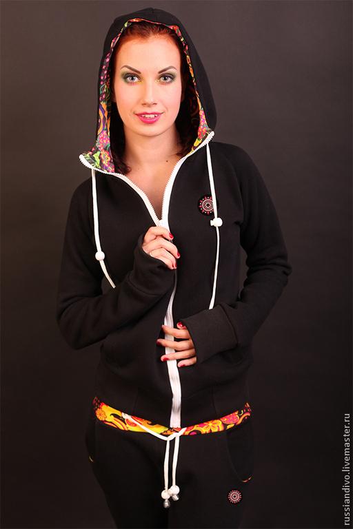 Спортивная одежда ручной работы. Ярмарка Мастеров - ручная работа. Купить Толстовка Панаш женская на молнии ( черный). Handmade.