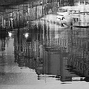 """Картины и панно handmade. Livemaster - original item Ночной Петербург черно-белая фото картина город """"Лодки на отдыхе"""". Handmade."""
