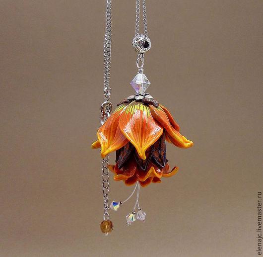 Кулоны, подвески ручной работы. Ярмарка Мастеров - ручная работа. Купить Огненный цветок - кулон на цепочке огненно-рыжий в виде цветка. Handmade.