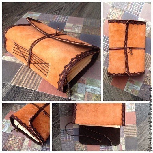 Блокноты ручной работы. Ярмарка Мастеров - ручная работа. Купить Блокнот из натуральной замши. Handmade. Оранжевый, блокнот ручной работы