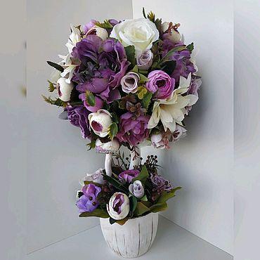 """Цветы и флористика ручной работы. Ярмарка Мастеров - ручная работа Топиарий """"Фиолетовый вечер"""". Handmade."""