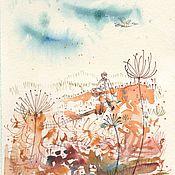Картины и панно handmade. Livemaster - original item Hike for cranberries. Drawing and watercolor. Handmade.