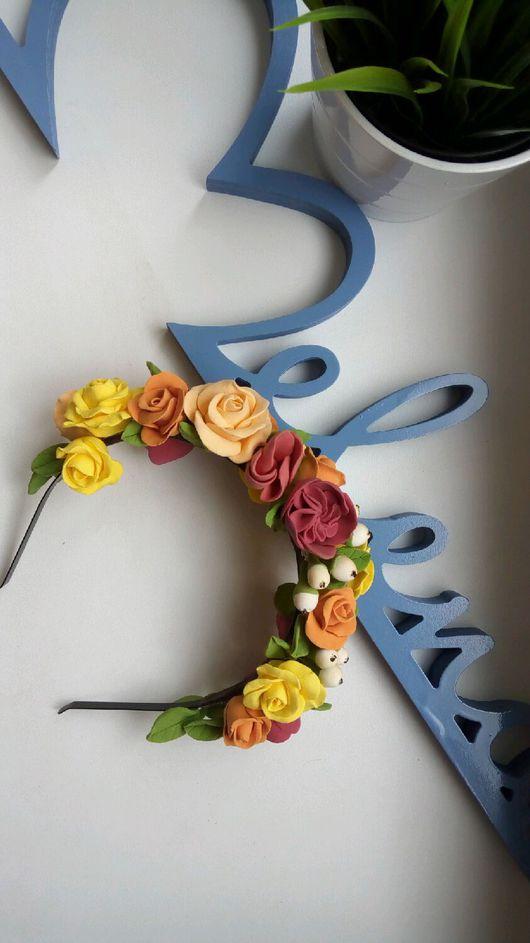 Диадемы, обручи ручной работы. Ярмарка Мастеров - ручная работа. Купить Ободок с яркими цветами. Handmade. Полимерная глина