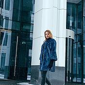 Одежда ручной работы. Ярмарка Мастеров - ручная работа Арт. А034. Шубка из эко-меха под песца синего цвета.. Handmade.