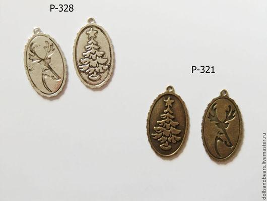 Для украшений ручной работы. Ярмарка Мастеров - ручная работа. Купить Медальон ель-олень, 41x26см. Handmade. Коричневый, медальон