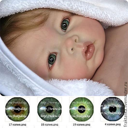 Варианты расцветок радужек из набора, для куклы реборн: оттенки глазок карие-зелёные, серо-зелёный, зелёный, серо-голубой