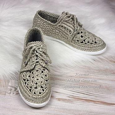 Обувь ручной работы. Ярмарка Мастеров - ручная работа Мокасины женские со шнурками льняные вязаные. Handmade.
