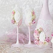 """Свадебный салон ручной работы. Ярмарка Мастеров - ручная работа """"Бледно-розовый"""" свадебные бокалы. Handmade."""