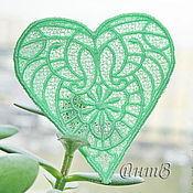 Материалы для творчества handmade. Livemaster - original item Embroidery, lace, applique heart cevron patch termo FSL free. Handmade.