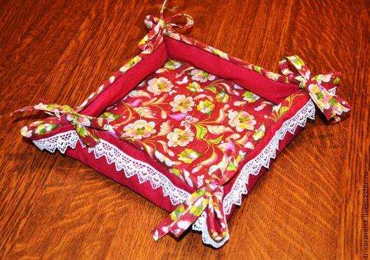 Кухня ручной работы. Ярмарка Мастеров - ручная работа. Купить Конфетница текстильная Цветы на красном. Handmade. Бордовый, конфетница текстильная